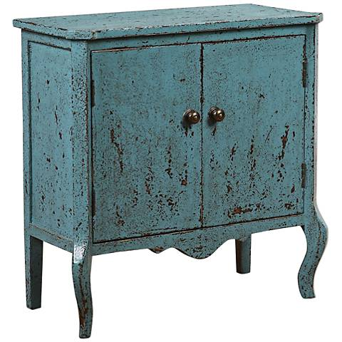 Uttermost Meka Distressed Robin's Egg 2-Door Accent Chest