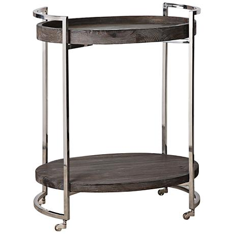 Uttermost Colin Reclaimed Pine Rolling Oval Serving Cart