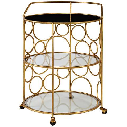 Uttermost Xandra Antiqued Gold 3-Shelf Round Serving Cart