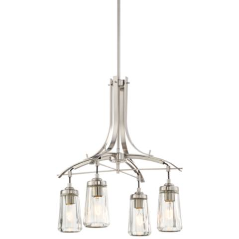 Poleis 21 Inch Wide Brushed Nickel 4 Light Chandelier__9w279