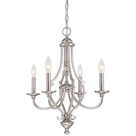 "Savannah Row 20""W Brushed Nickel 4-Light Chandelier"