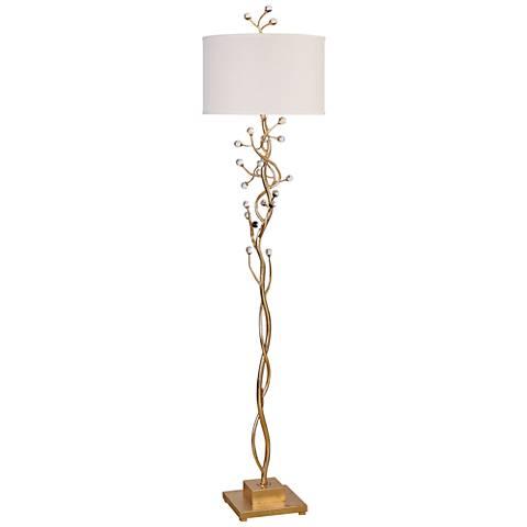 Uttermost Bede Gold Leaf Crystal Tree Floor Lamp