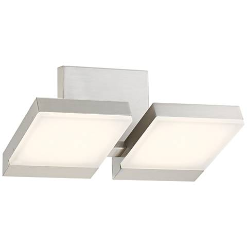 "George Kovacs Angle 13 1/2"" Wide LED Nickel Bath Light"