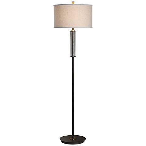 Uttermost Coeburn Rustic Black Pierced Steel Floor Lamp