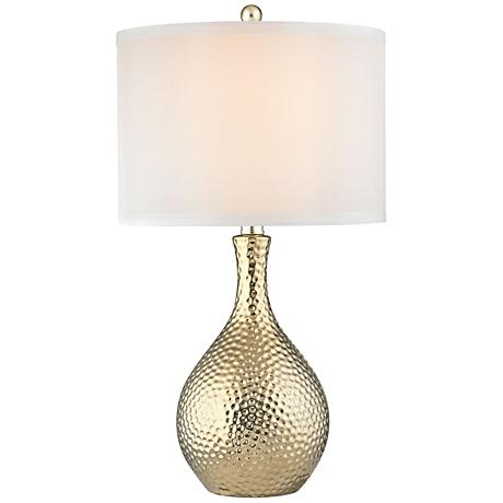 Dimond soleil gold plate hammered ceramic table lamp for Hammered gold floor lamp