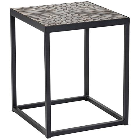 Mayya Black Leafy Mosaic Indoor-Outdoor Square Side Table