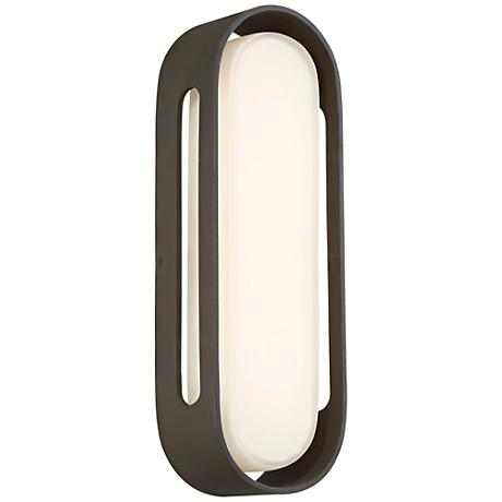 """George Kovacs Floating Oval 15""""H LED Bronze Wall Sconce"""