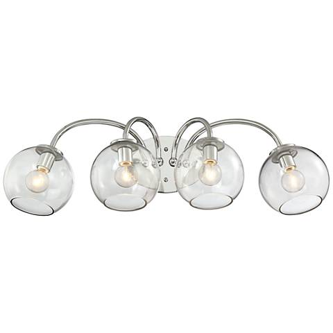 "George Kovacs Exposed 4-Light 27""W Chrome Bath Light"