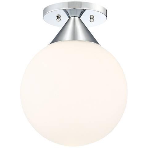 "George Kovacs Simple Chrome 9"" Wide Globe Ceiling Light"