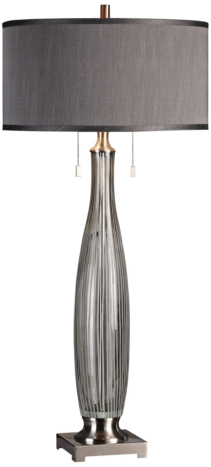 Uttermost Coloma Smoke Gray Striped Glass Table Lamp
