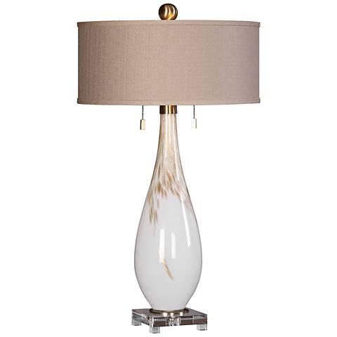 Uttermost Cardoni Gloss White Hand-Blown Glass Table Lamp