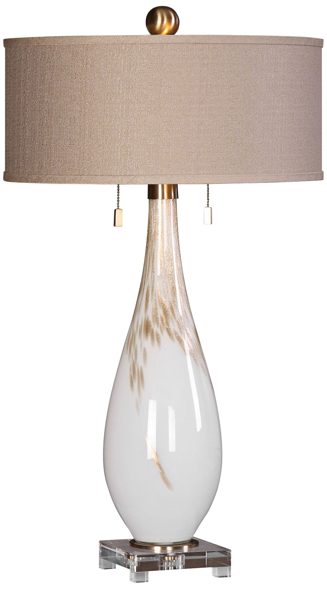 Delightful Uttermost Cardoni Gloss White Hand Blown Glass Table Lamp
