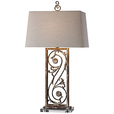 Uttermost Catania Distressed Dark Rust Bronze Table Lamp