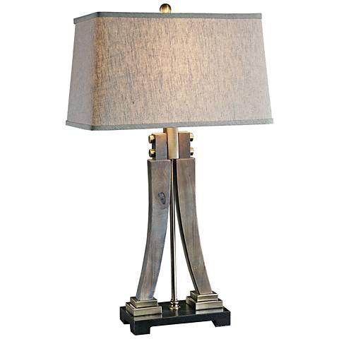 Uttermost Yerevan Distressed Wood Sculptural Table Lamp