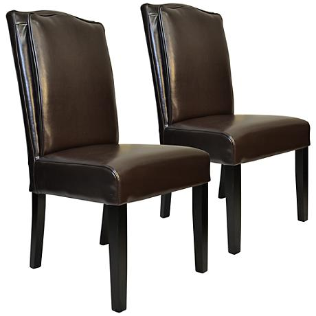 Cambria Brown Bonded Leather Pillow-Back Chair Set of 2
