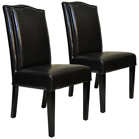 Cambria Black Bonded Leather Pillow-Back Chair Set of 2