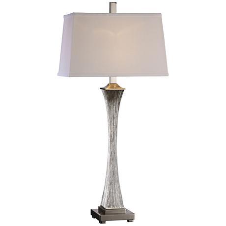 Uttermost Vella Silver Champagne Leaf Metallic Table Lamp