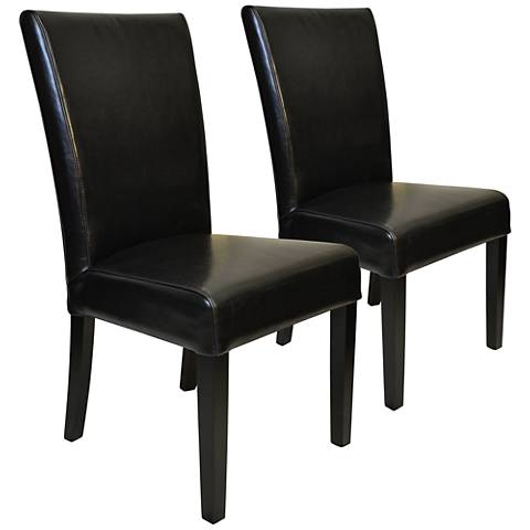 Petra Black Bonded Leather Straight-Back Chair Set of 2