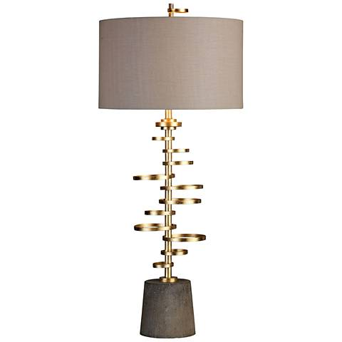 Uttermost Lostine Gold Leaf Staggered Rings Table Lamp