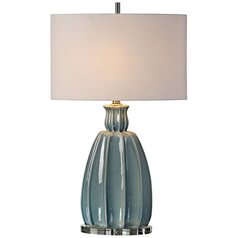 Uttermost Suzanette Sky Blue Crackle Ceramic Table Lamp