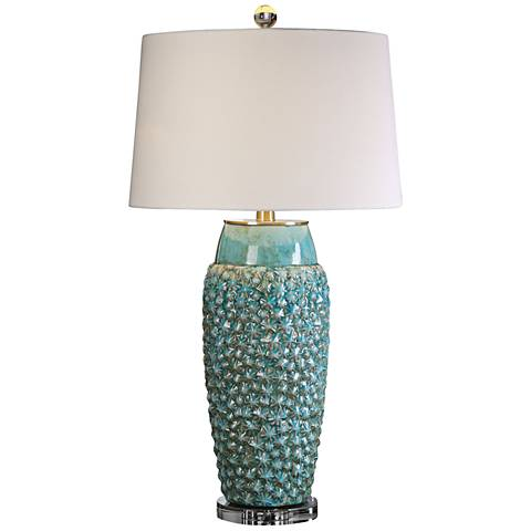 Uttermost Hermosa Sky Blue Crackle Ceramic Table Lamp