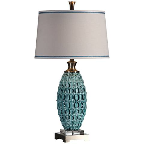 Uttermost Villas Sky Blue Woven-Fret Ceramic Table Lamp