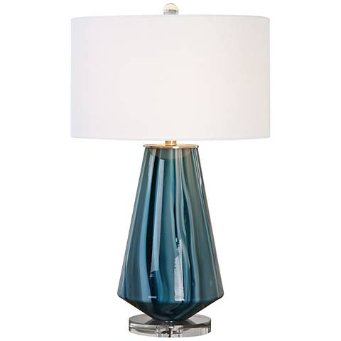 Uttermost Pescara Teal-Gray Glass Blue-Swirl Table Lamp