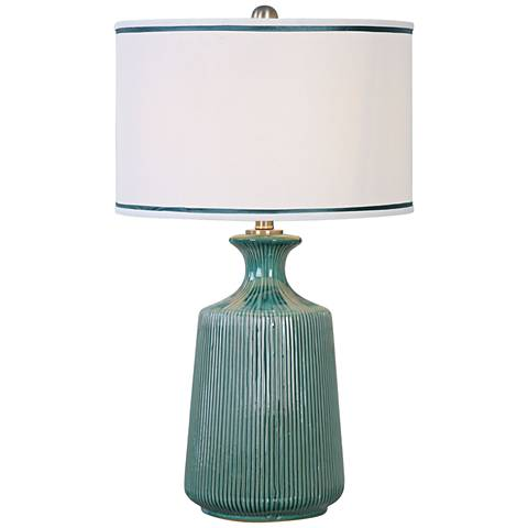 Uttermost Millers Teal-Glaze Ribbed Ceramic Table Lamp