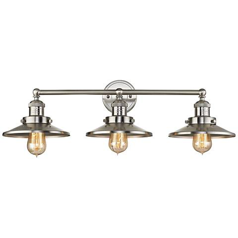 "English Pub 28"" Wide Satin Nickel 3-Light Bath Light"