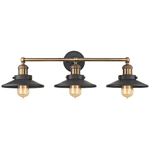 "English Pub 28""W Brass and Tarnished Graphite Bath Light"
