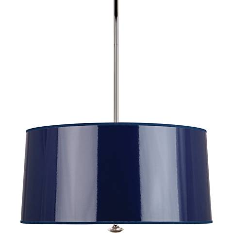 "Penelope 25 1/2""W Navy Shade Polished Nickel Pendant Light"