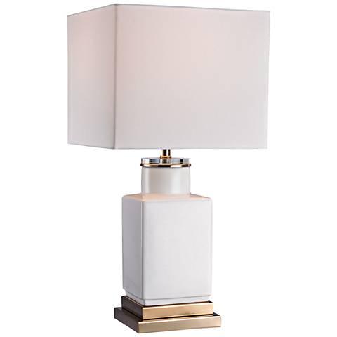 Dimond Dunbar Small Cube Gloss White Ceramic Table Lamp
