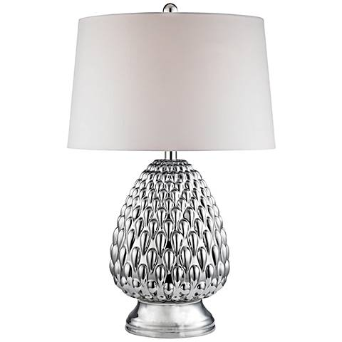 Romaine Mercury Acorn Chrome Plating Ceramic Table Lamp
