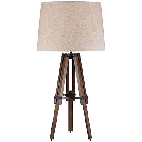 Benedict Wooden Brace Walnut and Bronze Tripod Table Lamp