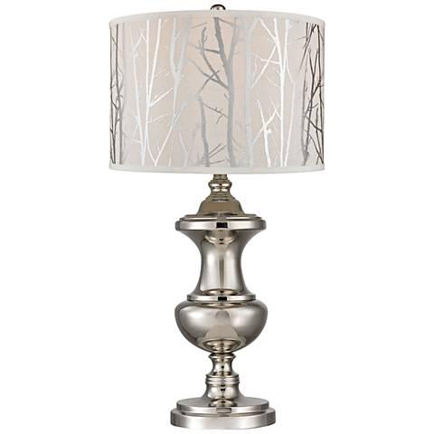 Kenter Spun Polished Nickel with Printed Shade Table Lamp