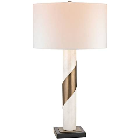 Sawtelle Strapped White Marble and Antique Brass Table Lamp