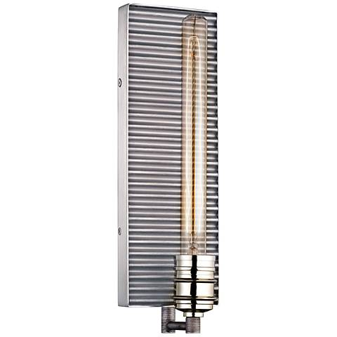 "Corrugated Steel 15""H Weathered Zinc and Nickel Wall Sconce"