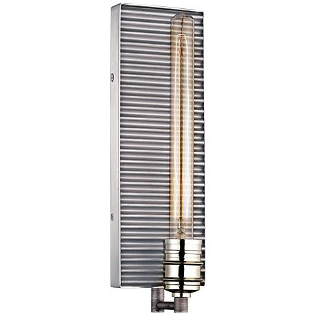 """Corrugated Steel 15""""H Weathered Zinc and Nickel Wall Sconce"""