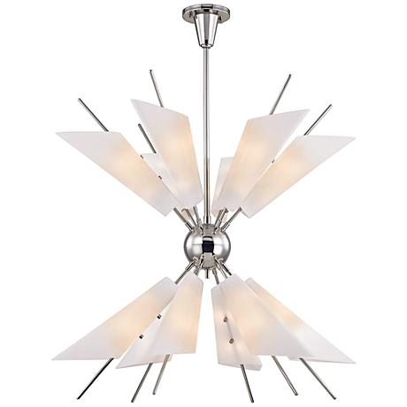 """Cooper 32 1/4"""" Wide Polished Nickel 24-Light LED Chandelier"""