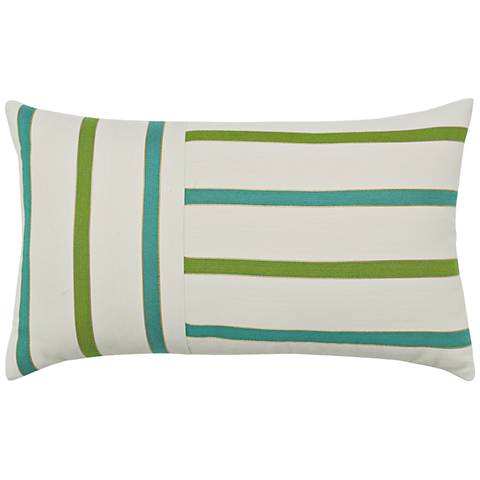 "Elaine Smith Eden Stripe 20""x12"" Indoor-Outdoor Pillow"