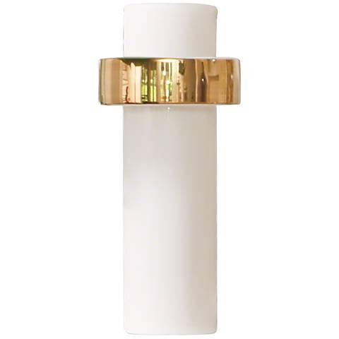"Sensei White and Gold 13 1/2"" High High-Ring Ceramic Vase"