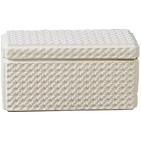 Amberly Matte White Dimple Ceramic Rectangular Box