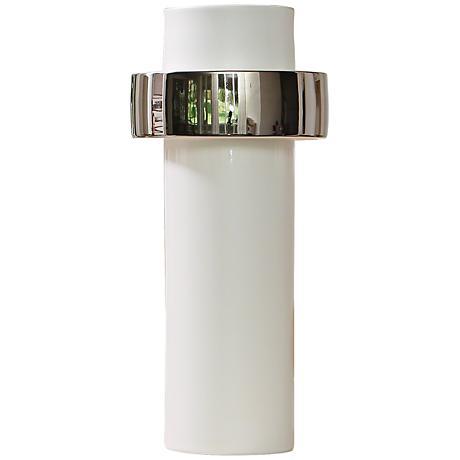 "Sensei White and Silver 13 1/2""H High-Ring Ceramic Vase"