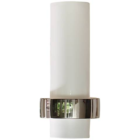 "Sensei White and Silver 13 1/2"" High Low-Ring Ceramic Vase"