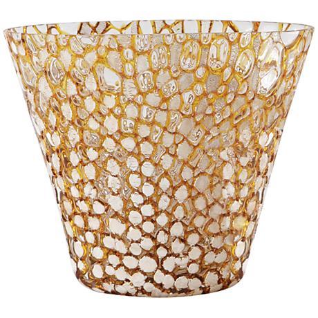 Broadmoor Large Golden Bubble Oval Art Glass Bowl