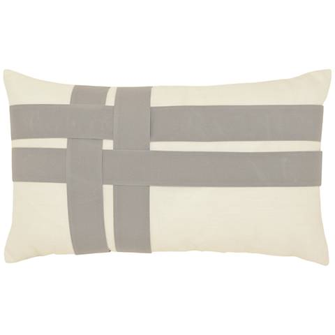 "Elaine Smith Woven Plaid 20""x12"" Indoor-Outdoor Pillow"