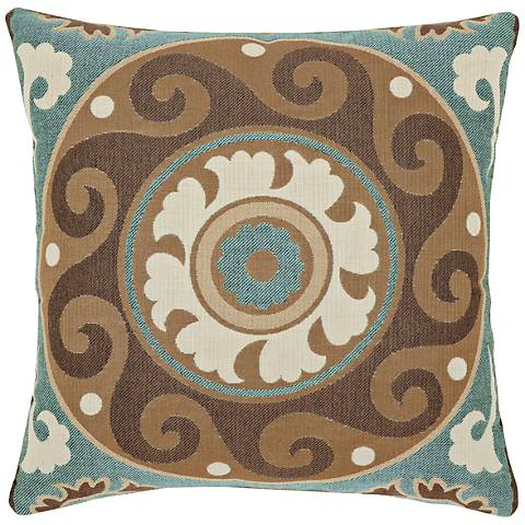 "Elaine Smith Suzani Mist 18"" Square Indoor-Outdoor Pillow"