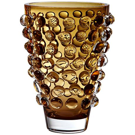 """Plessey Amber 11 3/4"""" High Bubble Wide Art Glass Vase"""