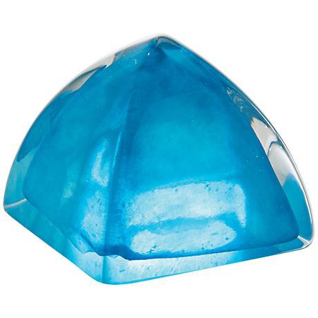 Crescent Clear Aqua Bejeweled Art Glass Paperweight