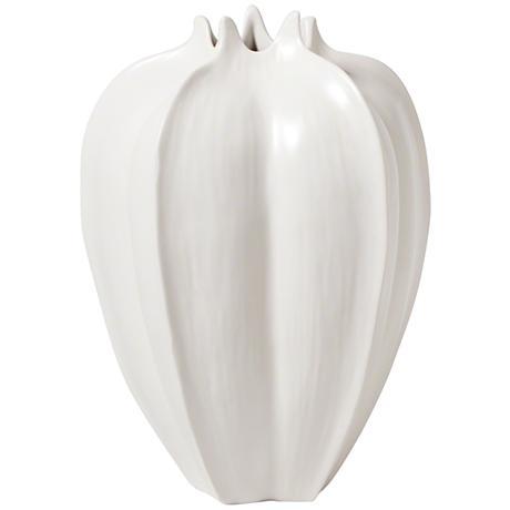 "Star Fruit Large Matte White 13"" High Ceramic Vase"
